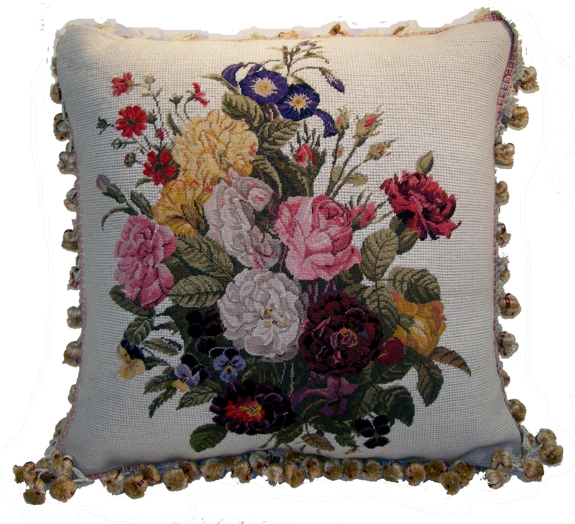 needlepoint summer htm dann shells daisies from collection pillows handcrafted fish pillow